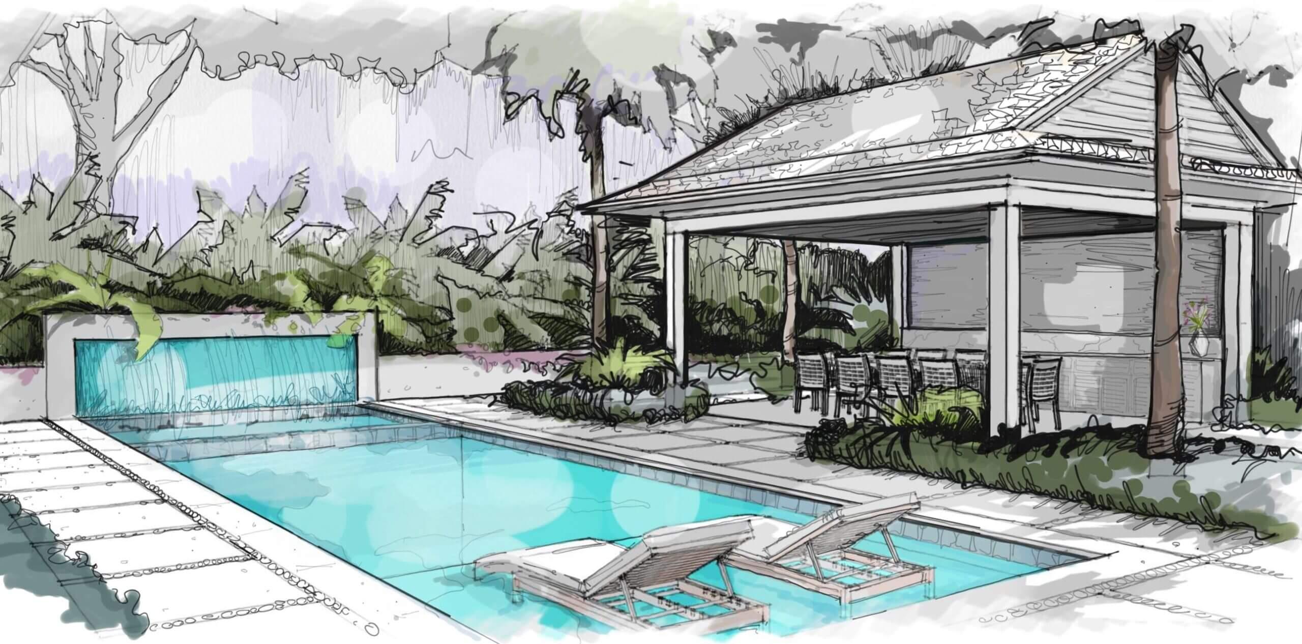 Pool & Landscape Process Sketch Vero Beach